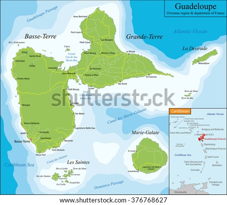 Map of Guadeloupe  - stock vector