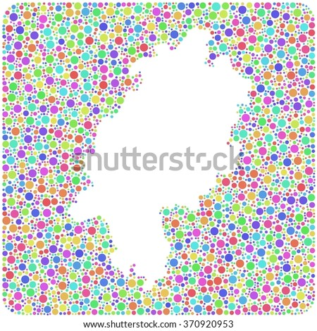 Map of Hesse - Germany - in a mosaic of colored circles - stock vector