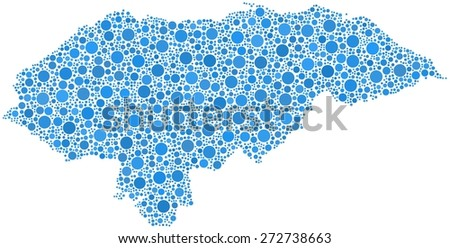 Map of Honduras - Central America - in a mosaic of blue circles - stock vector
