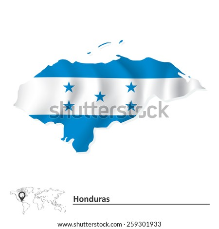 Map of Honduras with flag - vector illustration - stock vector