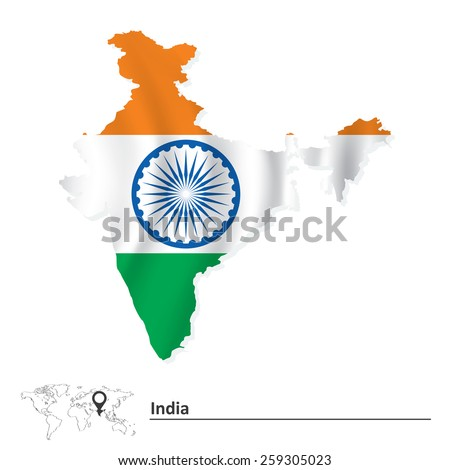 Map of India with flag - vector illustration - stock vector