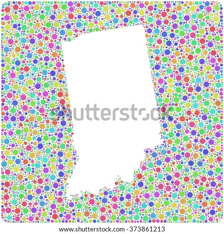 Map of Indiana - USA - in a mosaic of harlequin circles - stock vector