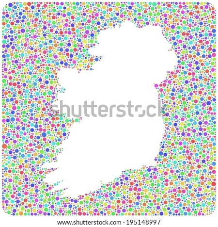 Map of Ireland - Europe - into a square icon. Mosaic of colored circles - stock vector