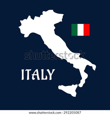 Map of Italy white silhouette with italian national flag in the upper corner on dark blue background for education or travel design - stock vector