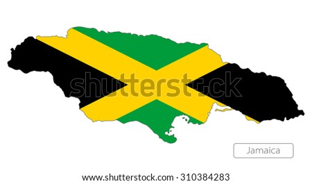 Map of Jamaica with an official flag. North America. Illustration on white background - stock vector