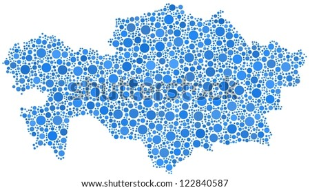Map of Kazakhstan - Asia - in a mosaic of blue bubbles. A number of 2223 little bubbles are accurately inserted into the mosaic. White background. - stock vector