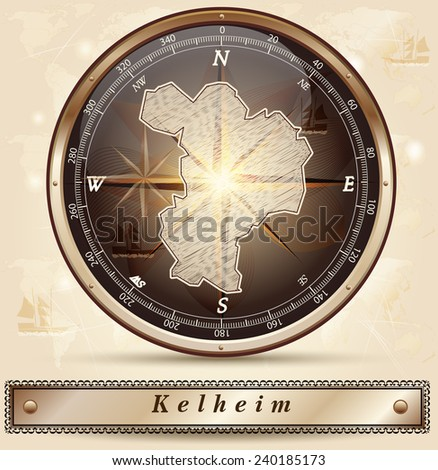 Map of Kelheim with borders in bronze - stock vector