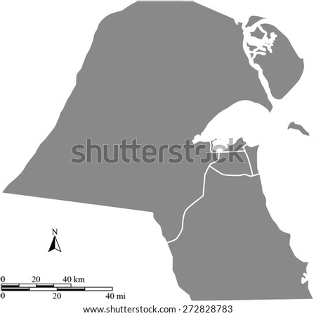 Map of Kuwait with mileage and kilometer scales and boundaries/polygons of districts or provinces or states, in grey color - stock vector