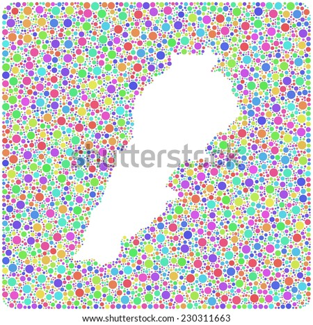 Map of Lebanon - Middle East - in a mosaic of little bubbles. A number of 6396 little circles are accurately inserted into the mosaic - stock vector