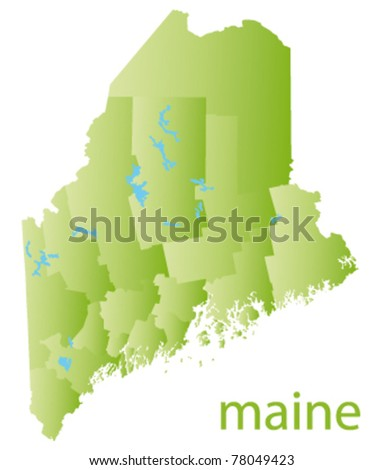 map of maine state - stock vector