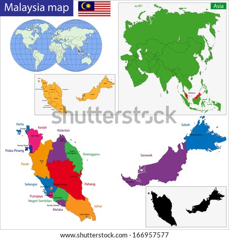 Map of Malaysia with the states colored in bright colors - stock vector