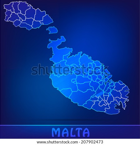 Map of Malta with borders as scribble - stock vector