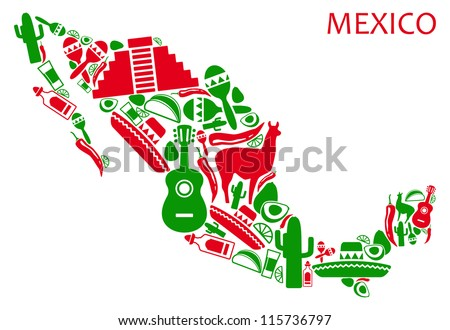 Map of Mexico from national symbols - stock vector