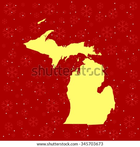 map of Michigan - stock vector