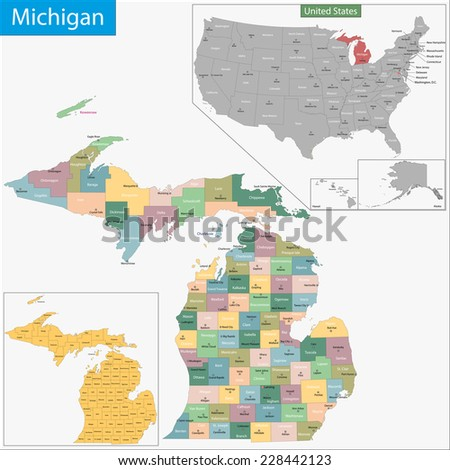 Map of Michigan state designed in illustration with the counties and the county seats - stock vector