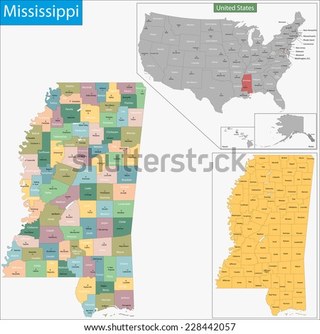 Map of Mississippi state designed in illustration with the counties and the county seats - stock vector