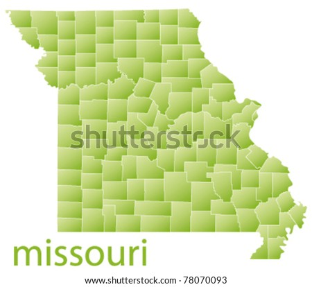 map of missouri state, usa - stock vector