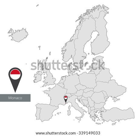 Map of Monaco with an official flag. Location in Europe - stock vector
