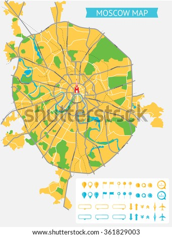 Map of Moscow with the Russian names of the main roads and and infographic elements. All objects are located on separate layers. - stock vector
