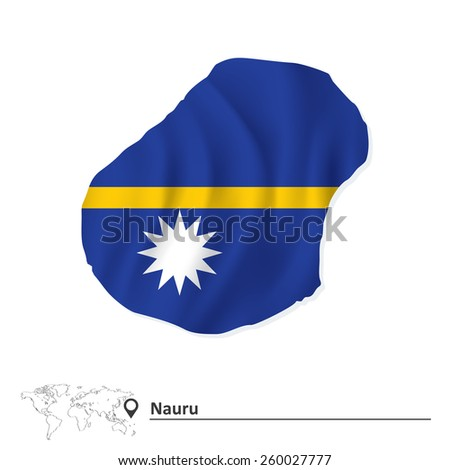 Map of Nauru with flag - vector illustration - stock vector