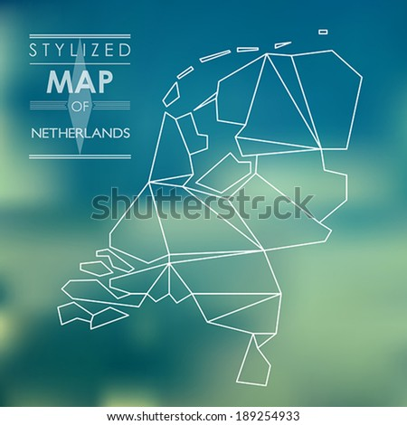 map of Netherlands. stylized map concept - stock vector