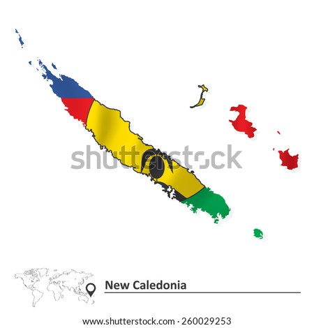 Map of New Caledonia with flag - vector illustration - stock vector