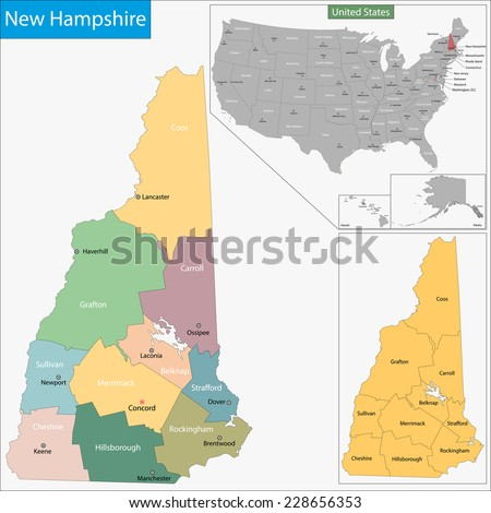 Map of New Hampshire state designed in illustration with the counties and the county seats - stock vector