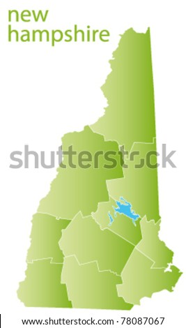 map of new hampshire state, usa - stock vector