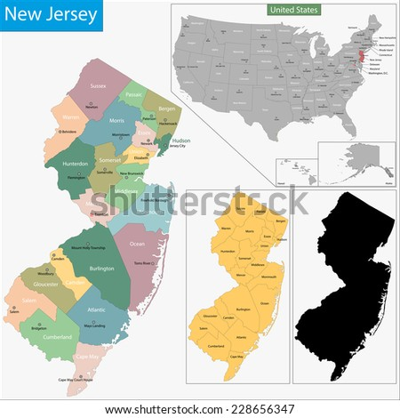 Map of New Jersey state designed in illustration with the counties and the county seats - stock vector