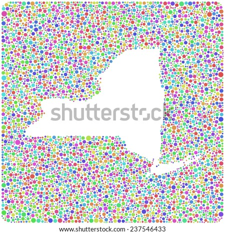 Map of New York State into a square icon. Mosaic of harlequin circles - stock vector