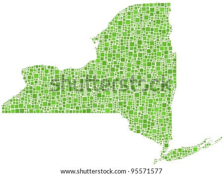 Map of New York State (USA) in a mosaic of green squares - stock vector