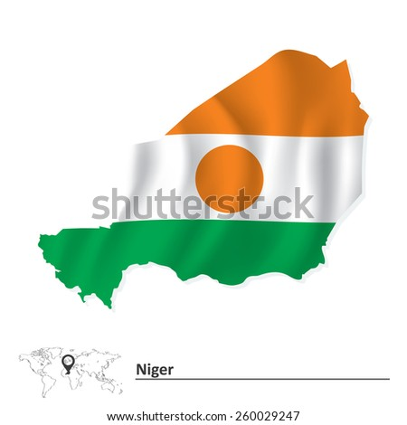 Map of Niger with flag - vector illustration - stock vector