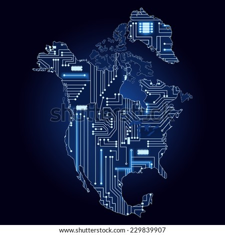 Map of North America with electronic circuit. Contour map of North America with a technological electronics circuit.  - stock vector