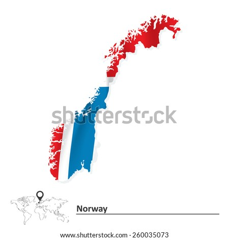 Map of Norway with flag - vector illustration - stock vector