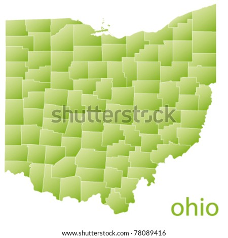 map of ohio state, usa - stock vector