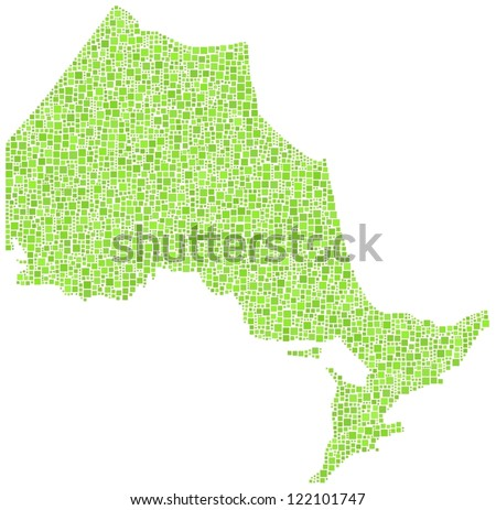 Map of Ontario - Canada - in a mosaic of green squares. A number of 3500 green squares are accurately inserted into the mosaic. White background. - stock vector