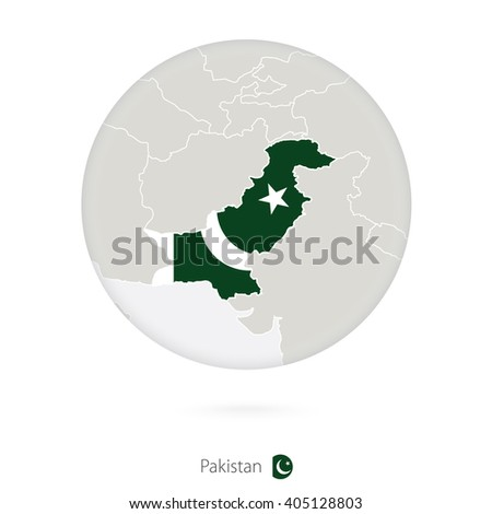 Map of Pakistan and national flag in a circle. Pakistan map contour with flag. Vector Illustration. - stock vector