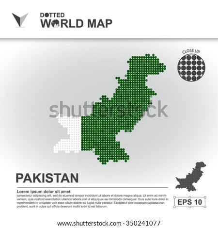 Map Of Pakistan Dotted Vector - stock vector