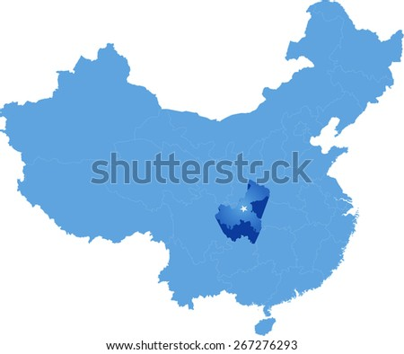 Map of People's Republic of China where Chongqing Municipality province is pulled out - stock vector