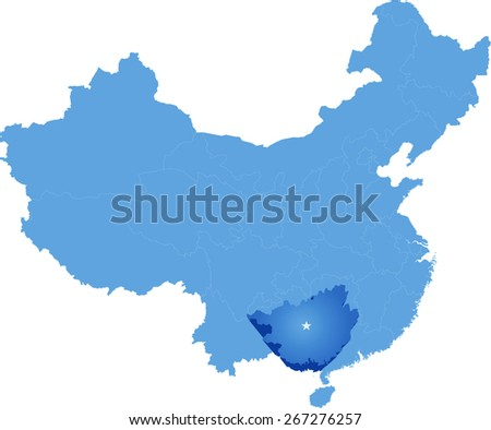Map of People's Republic of China where Guangxi Zhuang Autonomous Region province is pulled out - stock vector