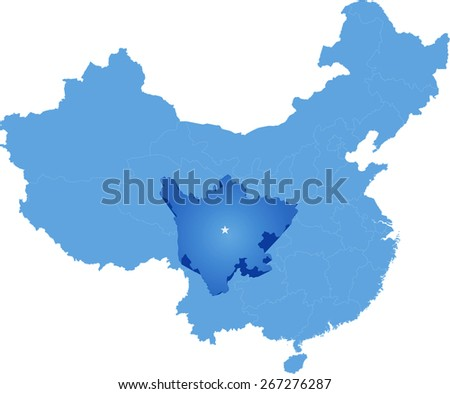 Map of People's Republic of China where Sichuan province is pulled out - stock vector