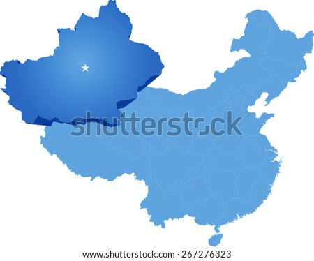 Map of People's Republic of China where Xinjiang Uyghur Autonomous Region province is pulled out - stock vector