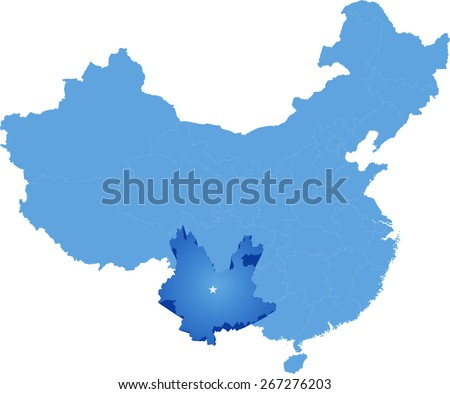 Map of People's Republic of China where Yunnan province is pulled out - stock vector
