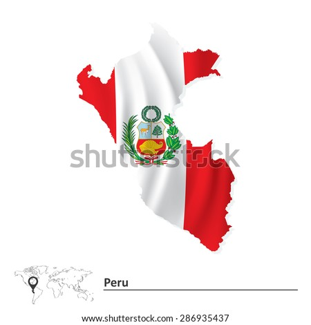 Map of Peru with flag - vector illustration - stock vector