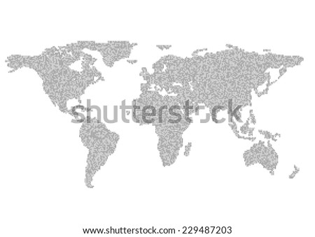 map of planet earth consisting of binary code - stock vector
