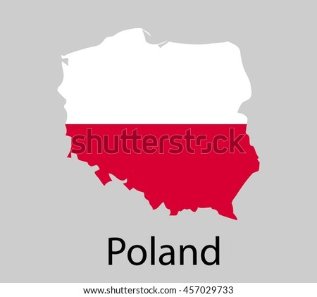 Map of Poland with flag. Vector illustration. - stock vector