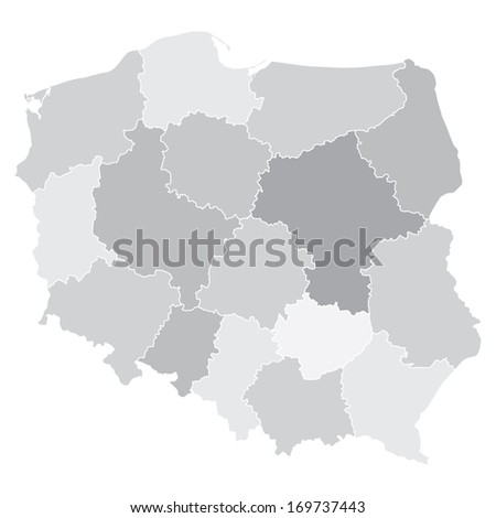 map of Poland with voivodships (vector illustration) - stock vector