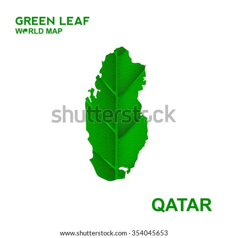 Map Of Qatar,Nature green leaf, vector illustration - stock vector