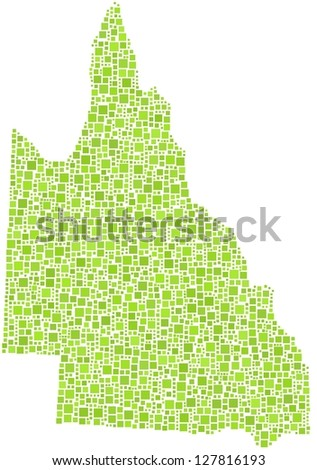 Map of Queensland - Australia - in a mosaic of green square. A number of 2199 squares are accurately inserted into the mosaic. White background. - stock vector