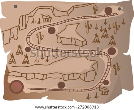 map of Railways in the Western style - stock vector